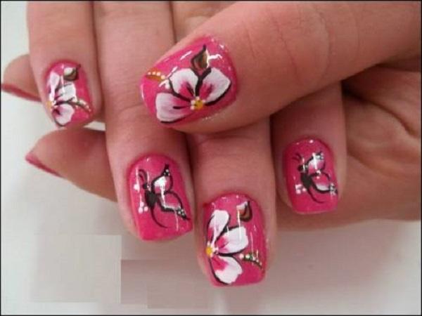 unha-decorada-flores-camada-dupla
