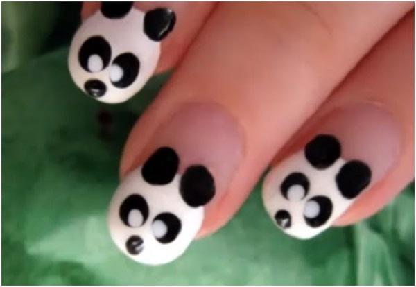 unha decorada simples e facil ursinho panda