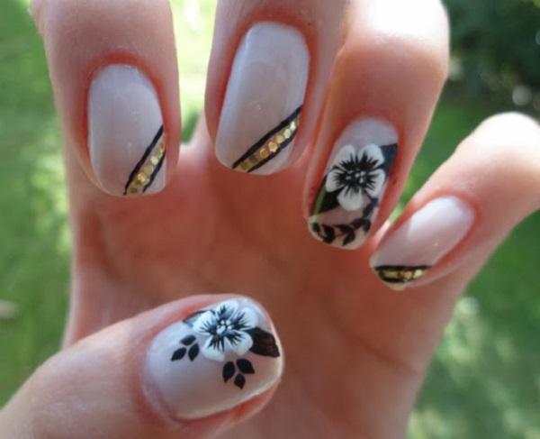 Desenhos de flores para unhas branco e preto